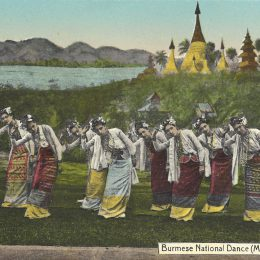 Burmese female group dancing, Moulmein. Postcard by Ahuja, Rangoon