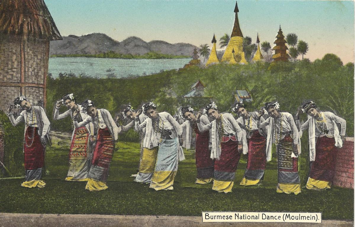 Burmese female group dancing, Moulmein. Postcard by Ahuja, Rangoon